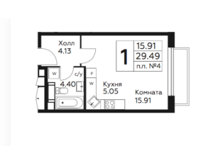 Планировка однокомнатной квартиры в Южное Бунино